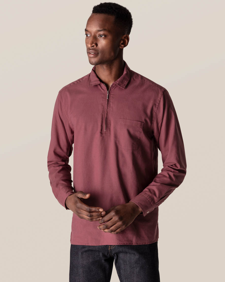 Dark Red Half-Zip Shirt