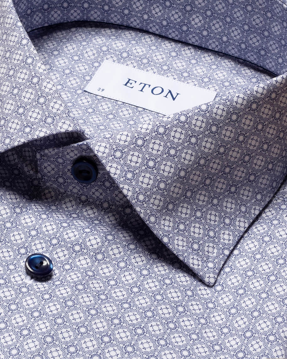 Blue Medallion Print Poplin Shirt