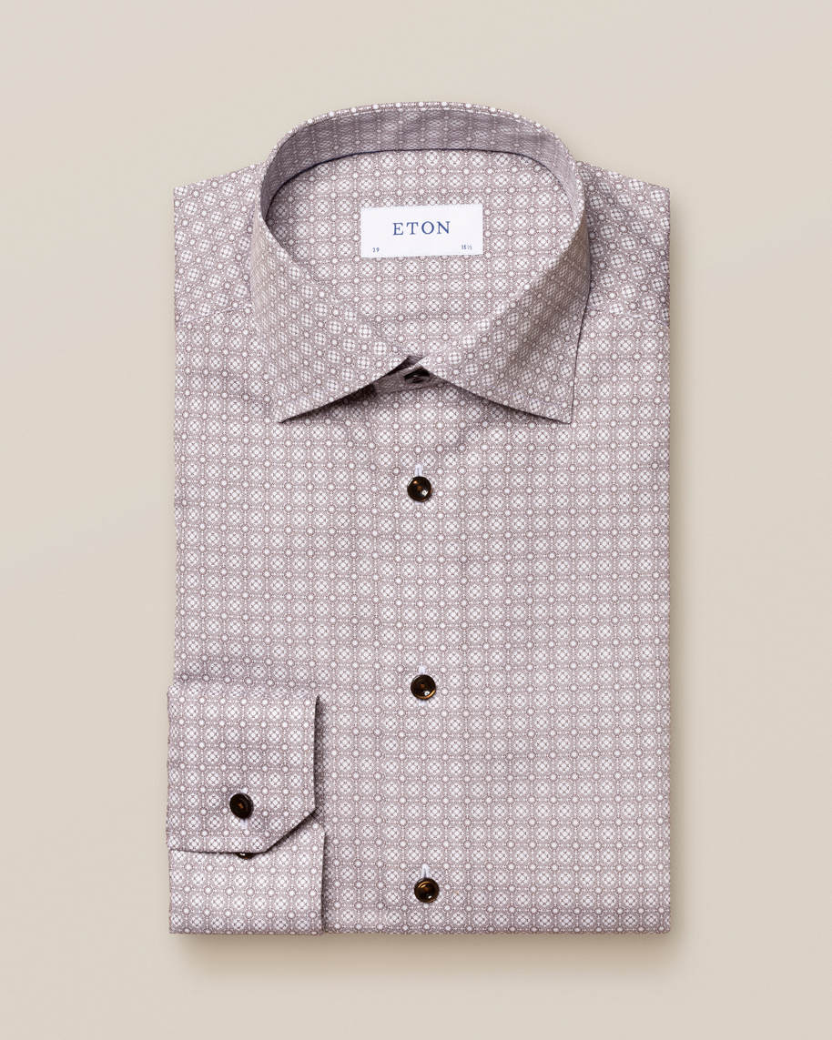 Brown Medallion Print Poplin Shirt