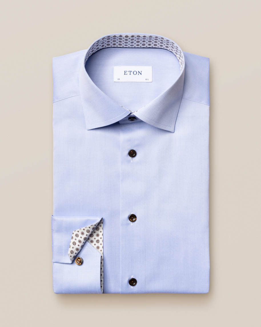 Light Blue Twill Shirt – Medallion Details