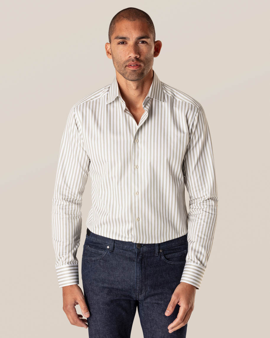 Green Striped Signature Twill Shirt - image 1