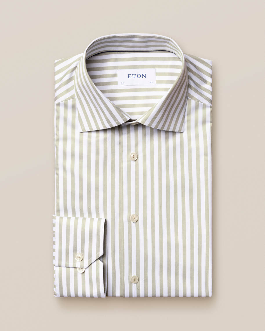 Green Striped Signature Twill Shirt - image 2