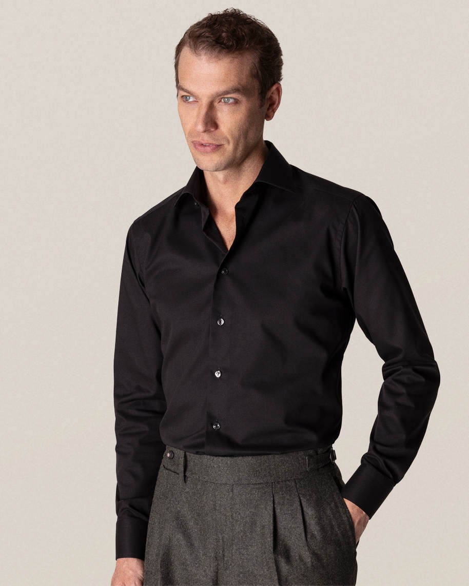 Black Diagonal Twill Shirt - image 1