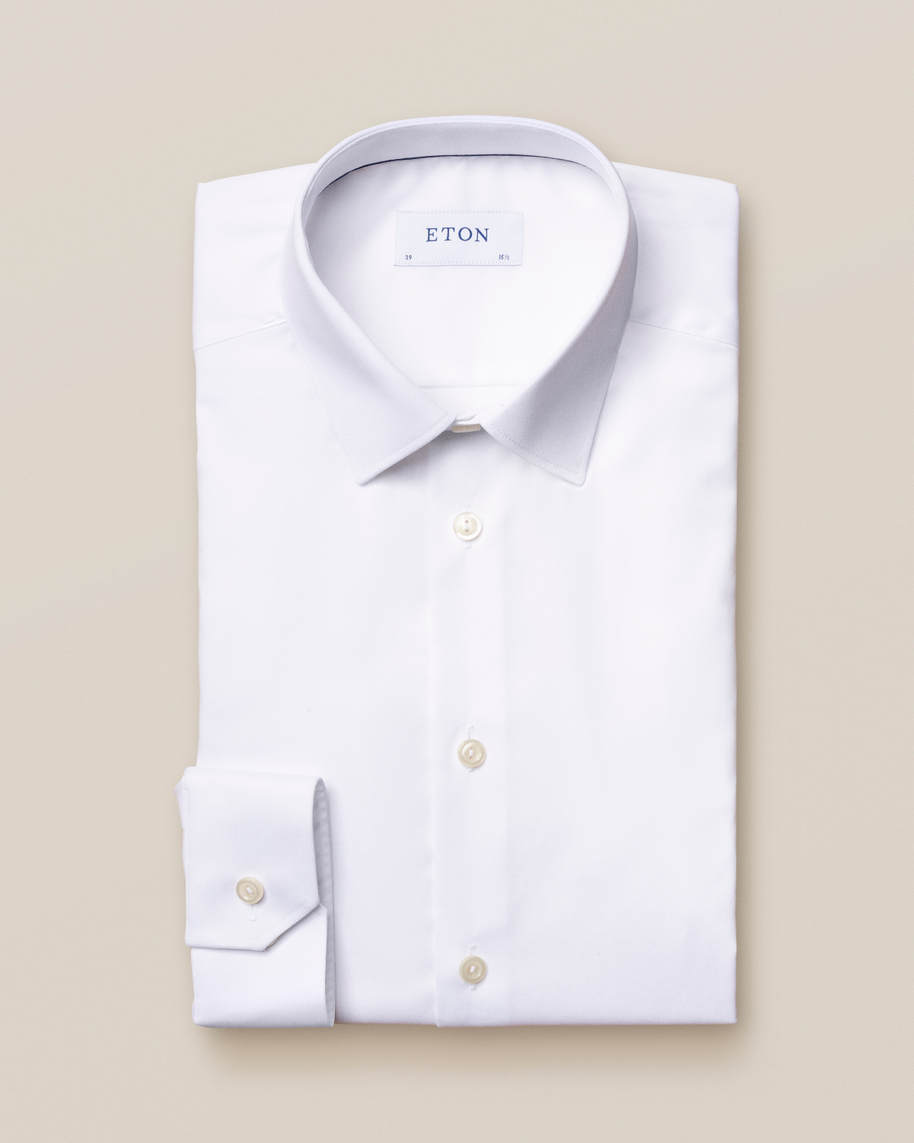 White Stretch Twill Shirt