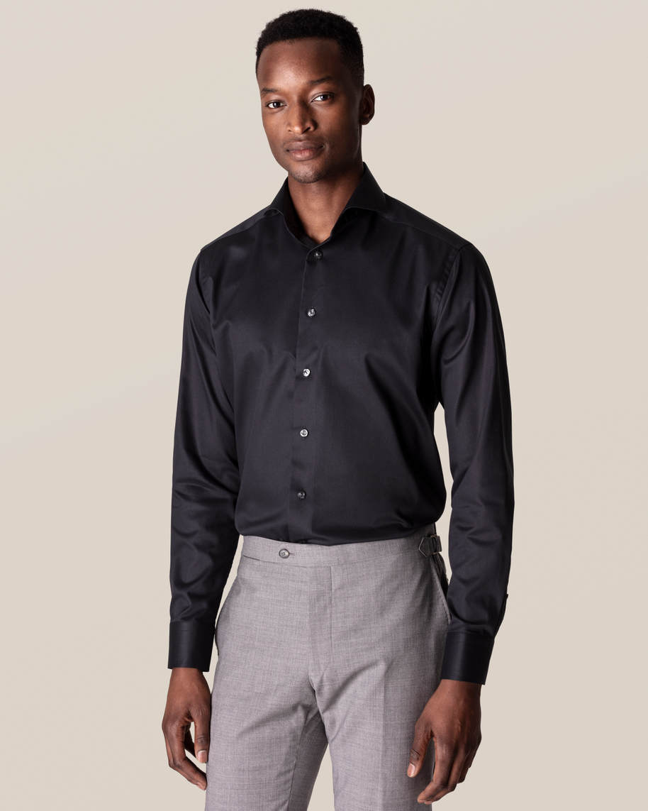 Black Stretch Twill Shirt
