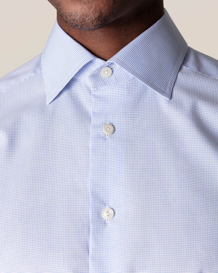 Light Blue Checked Fine Twill Shirt - image 6