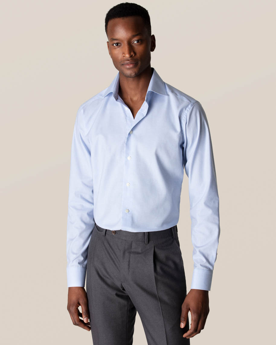 Light Blue Checked Fine Twill Shirt - image 1
