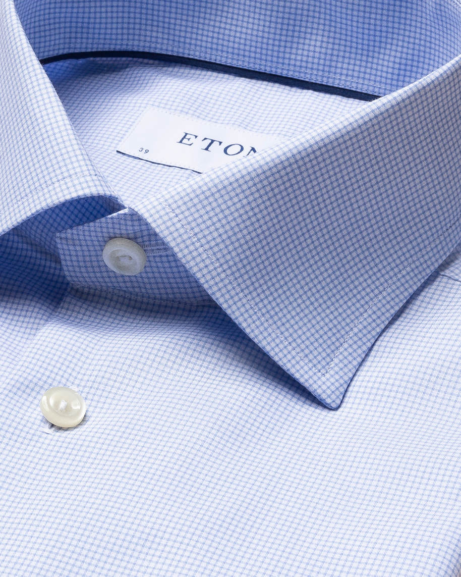 Light Blue Checked Fine Twill Shirt
