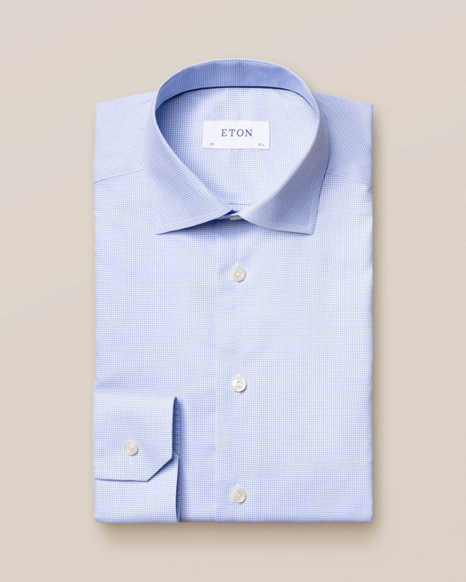 Light Blue Checked Fine Twill Shirt - image 2
