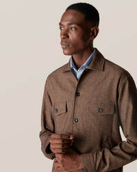Brown Cotton–wool–cashmere Flannel Overshirt - image 1