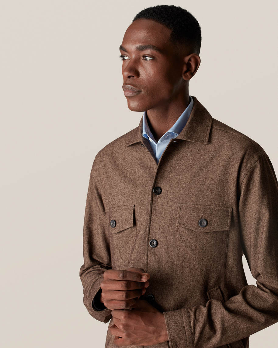 Brown Cotton–wool–cashmere Flannel Overshirt