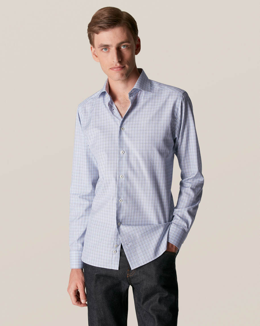 Light Blue Checked Cotton-Lyocell Stretch Shirt - image 1