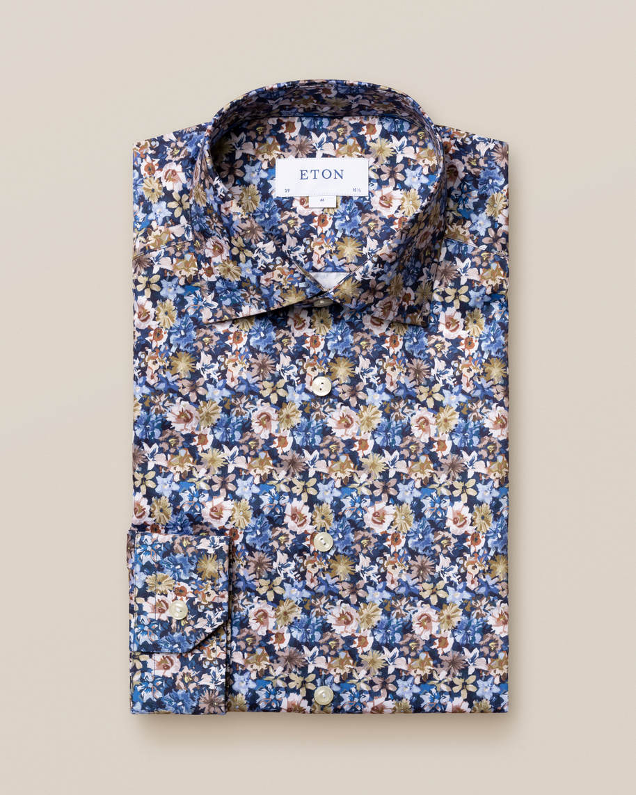 Blue Floral Twill Shirt