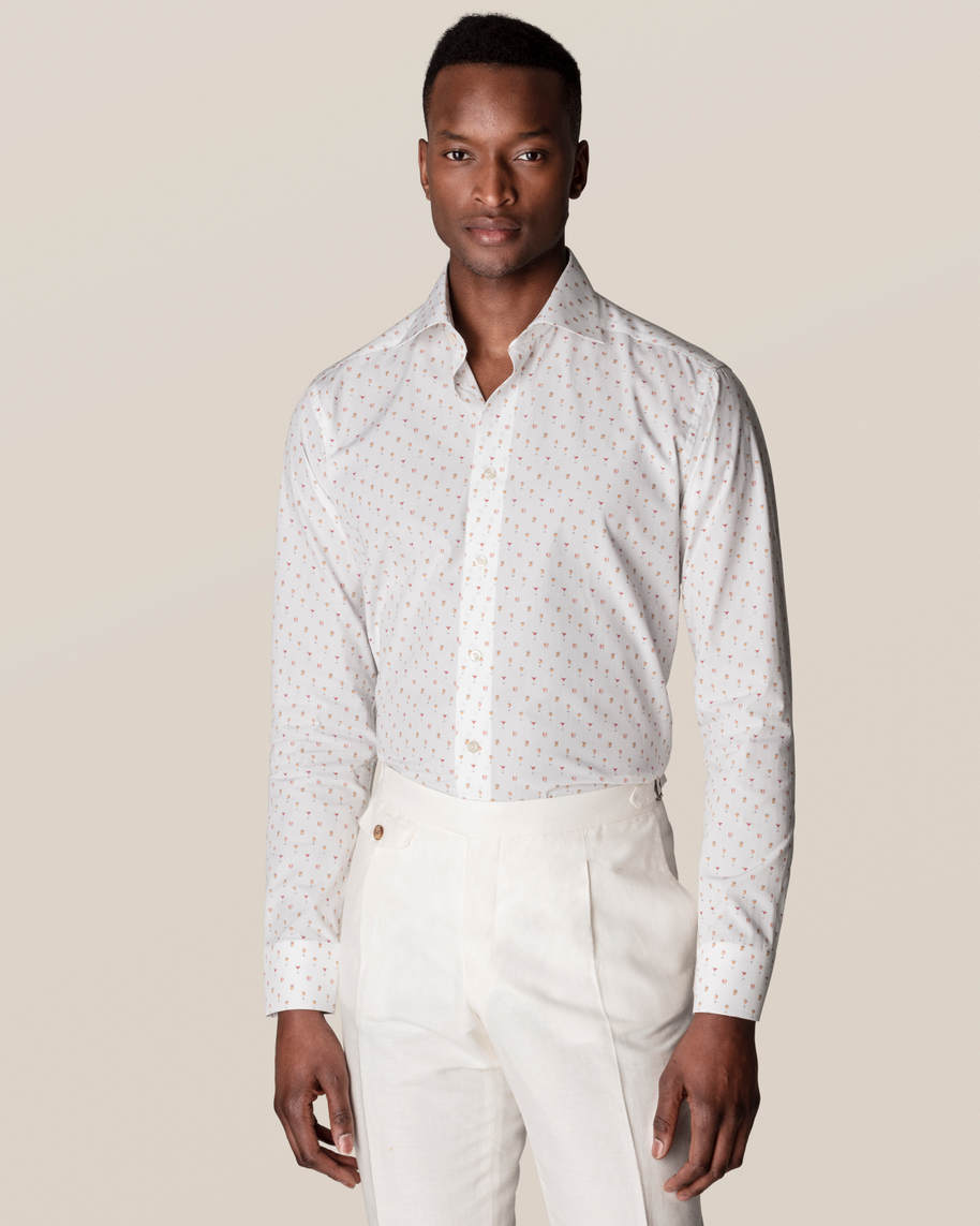 White Cocktail Print Poplin Shirt