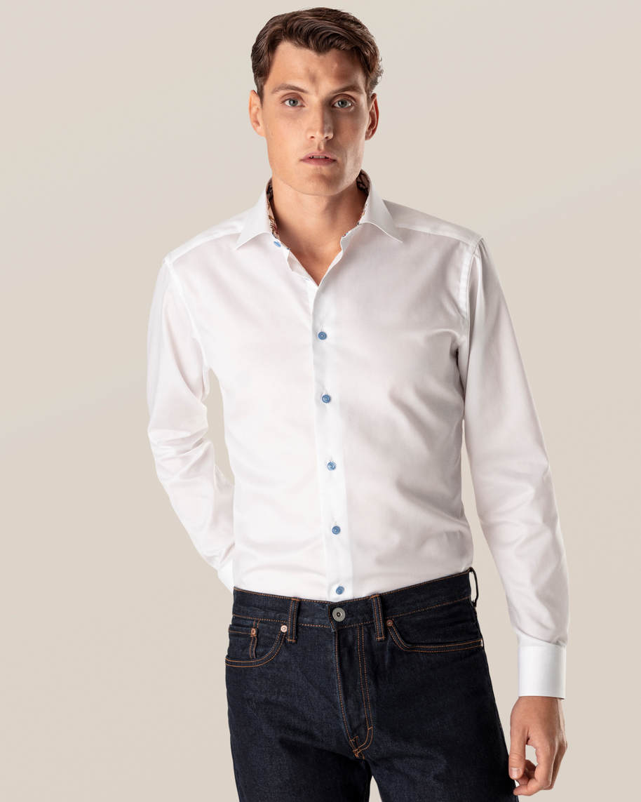 White Lightweight Twill Details Shirt