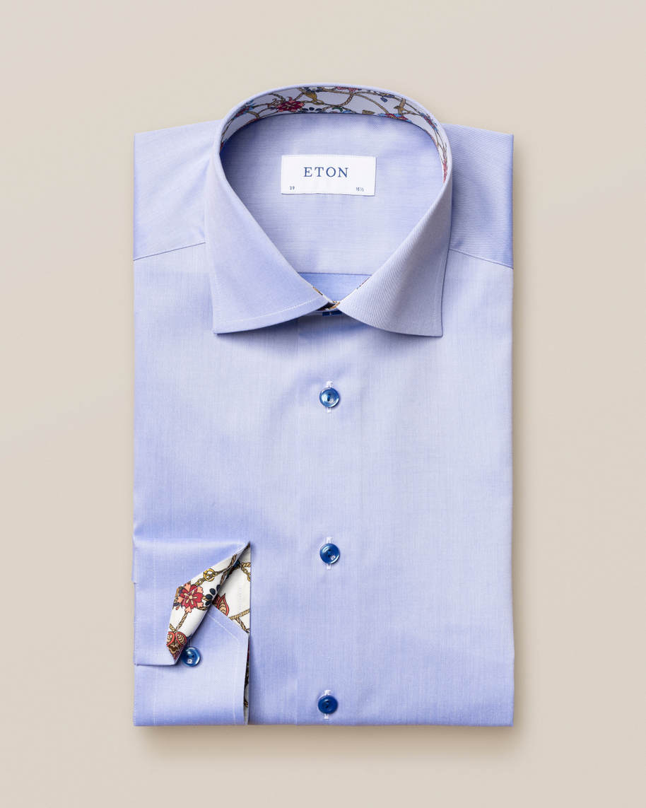 Blue Lightweight Twill Details Shirt
