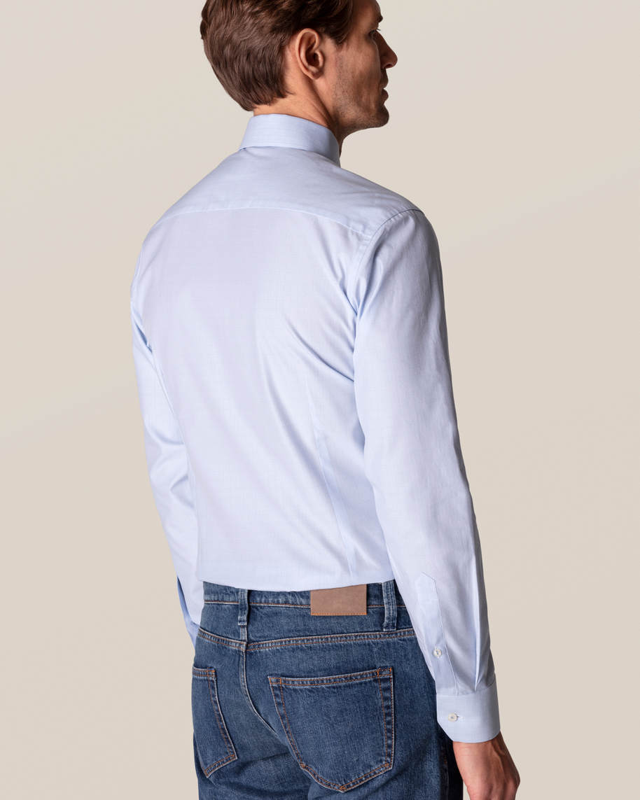 Blue Checked Fine Twill Shirt - image 11
