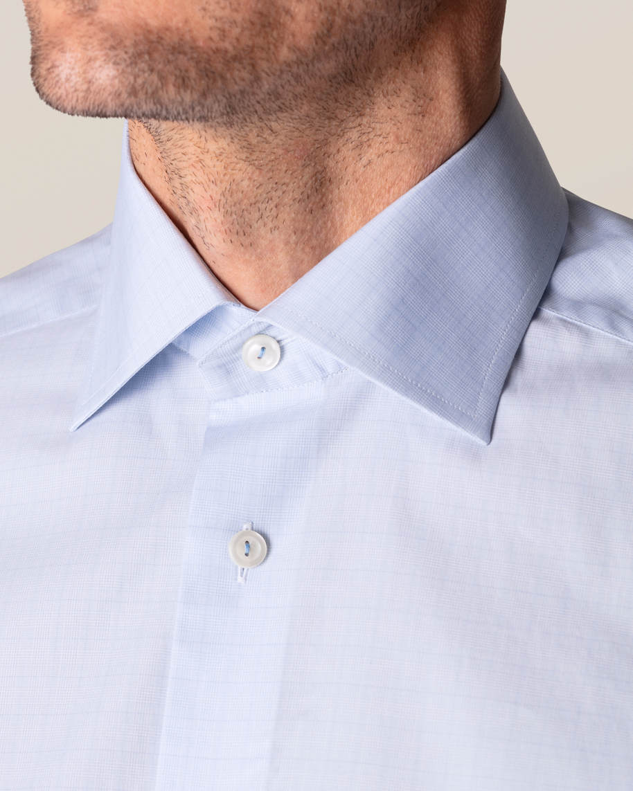 Blue Checked Fine Twill Shirt - image 9