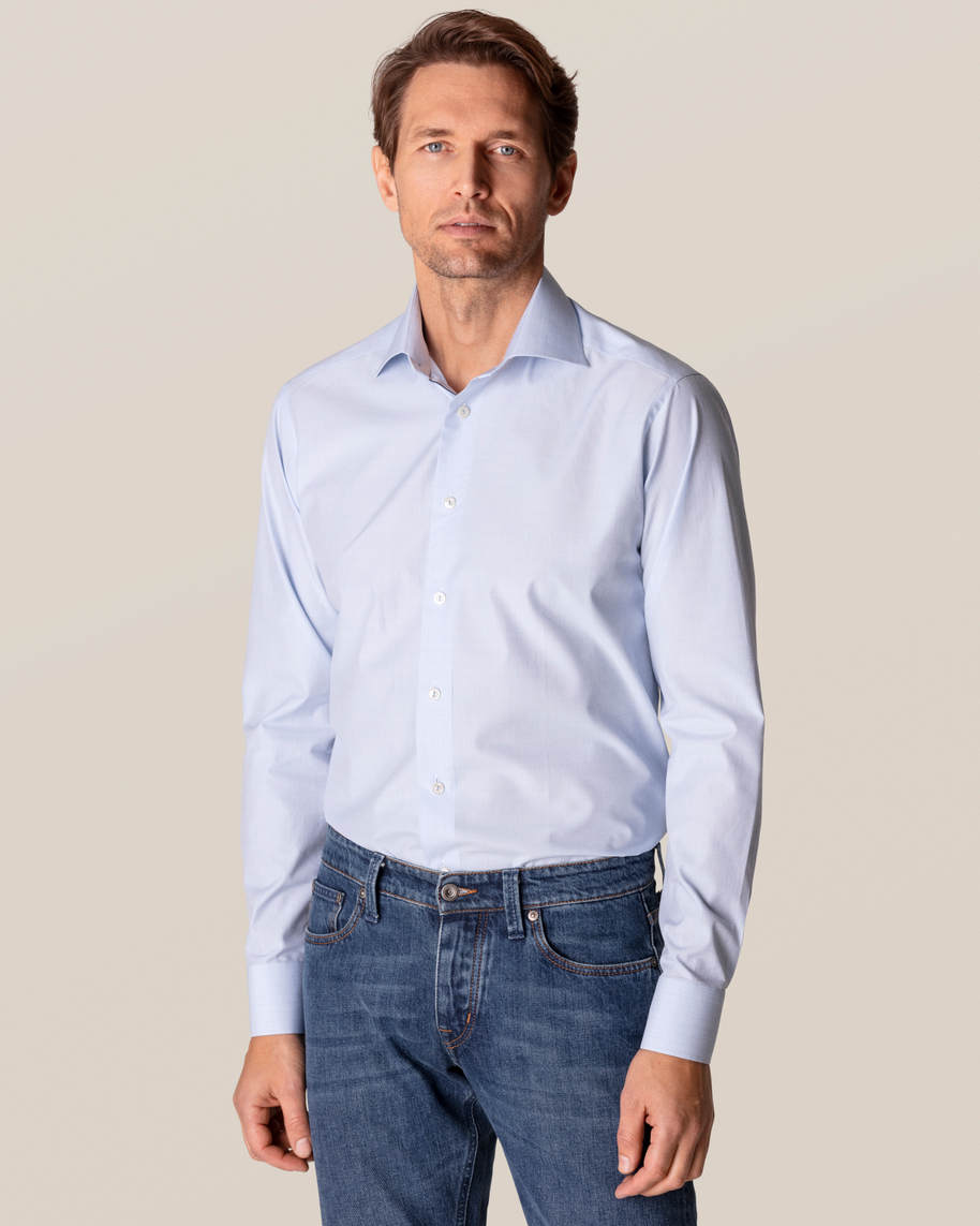 Blue Checked Fine Twill Shirt