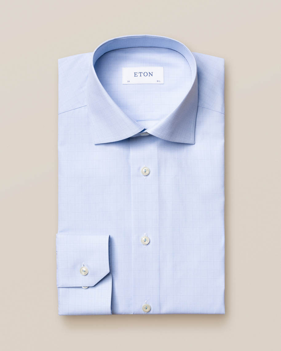 Blue Checked Fine Twill Shirt - image 3