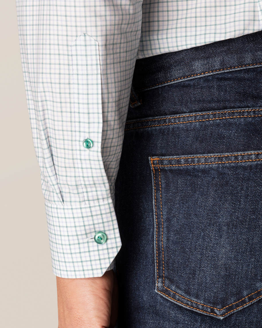 Green Checked Fine Twill Shirt - image 7