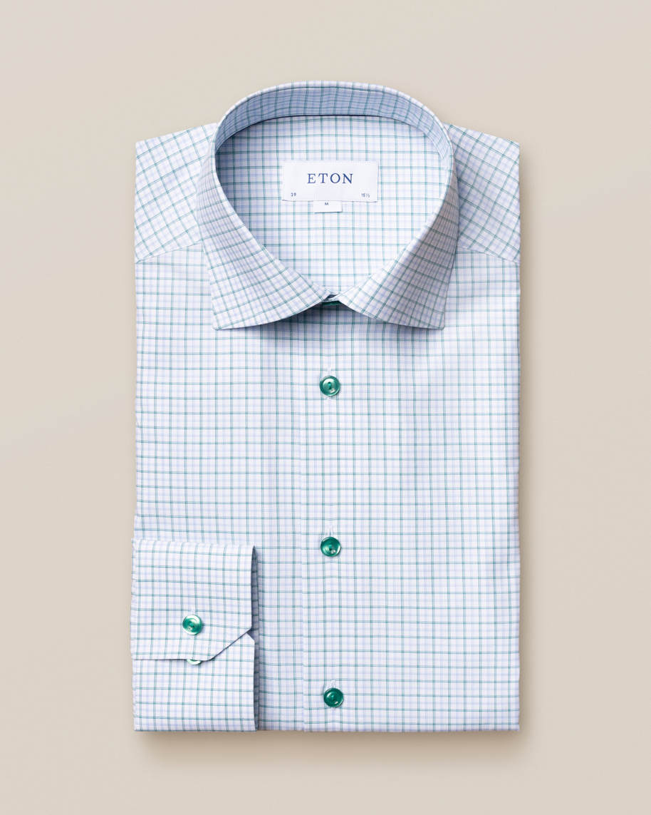Green Checked Fine Twill Shirt - image 2