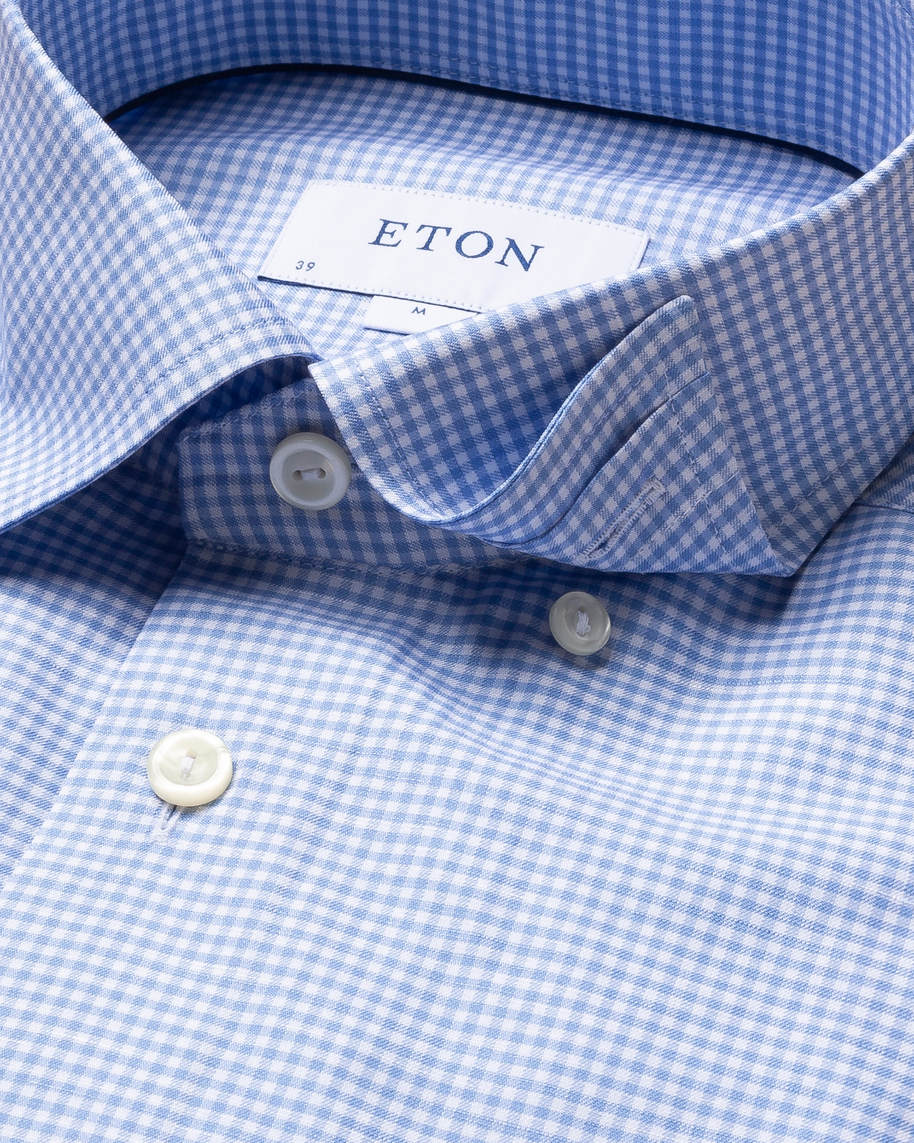 Blue Checked Cotton and Linen Shirt