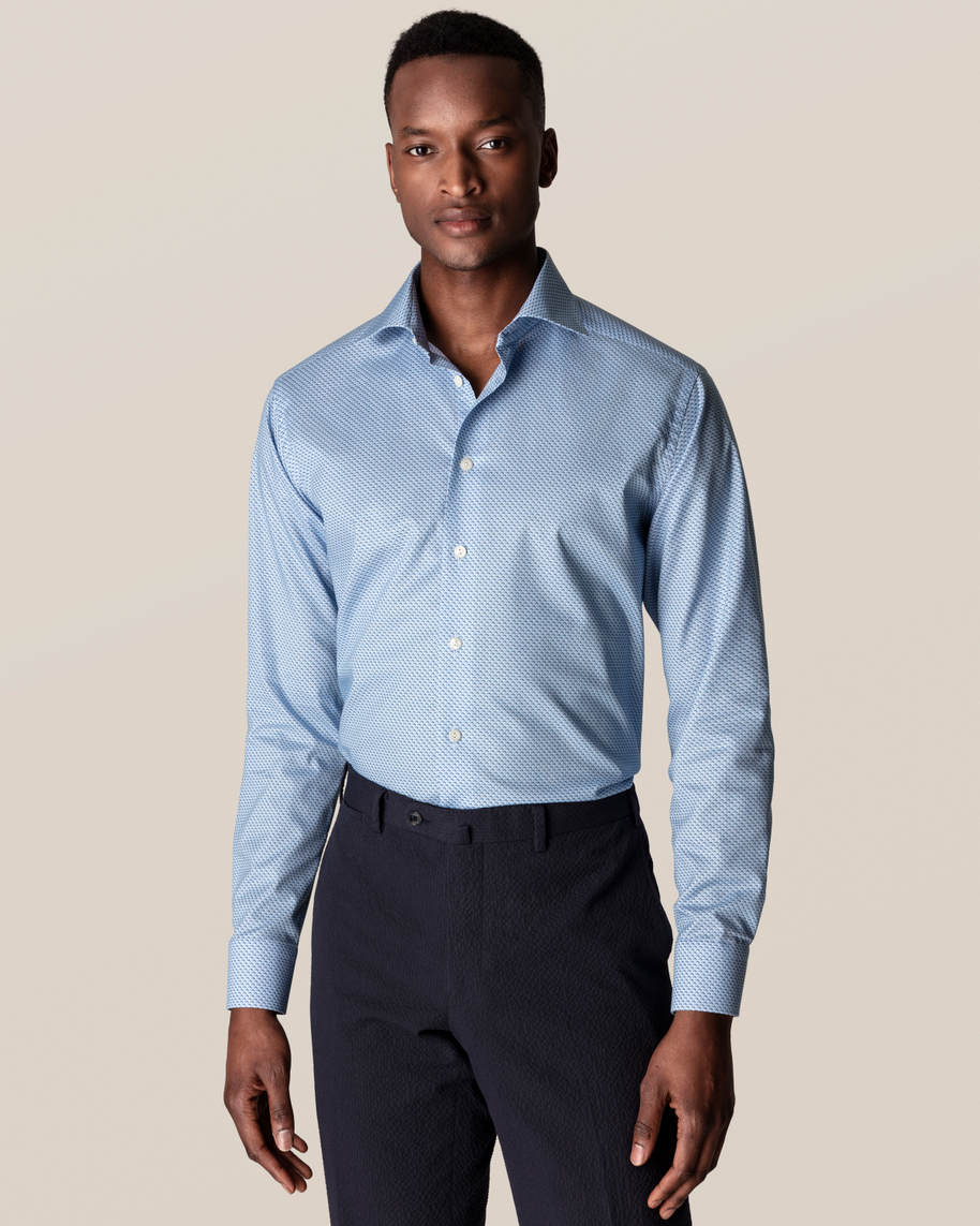 Blue Fish Print Signature Twill Shirt - image 1