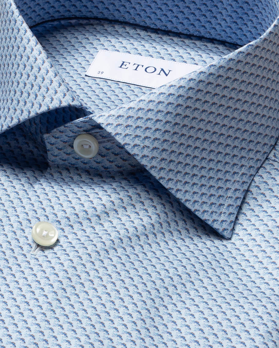 Blue Fish Print Signature Twill Shirt