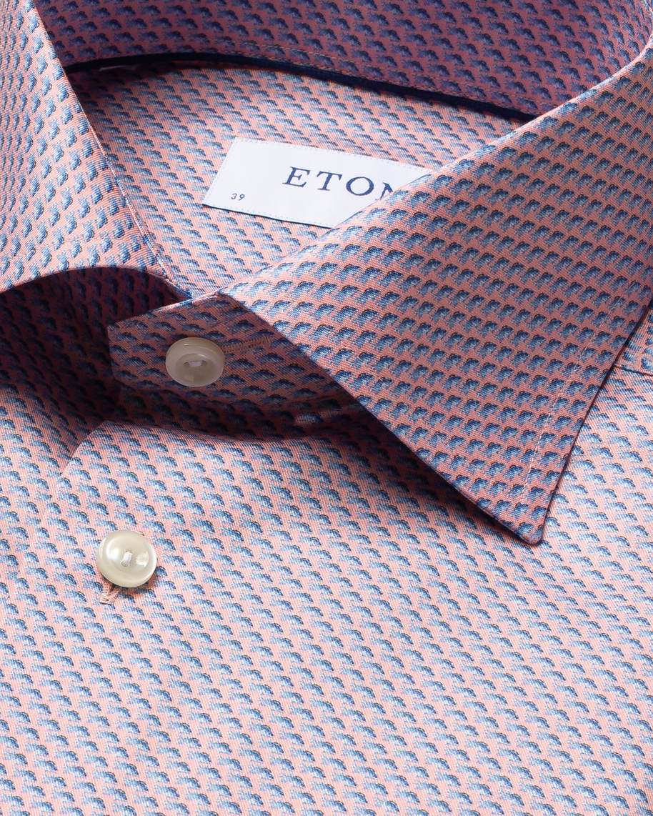 Peach Fish Print Signature Twill Shirt - image 4