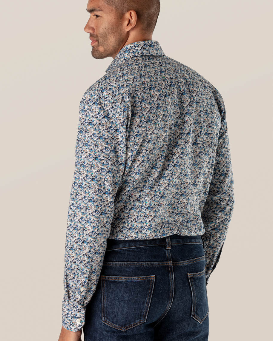 Blue Stained Floral Signature Twill Shirt - image 5