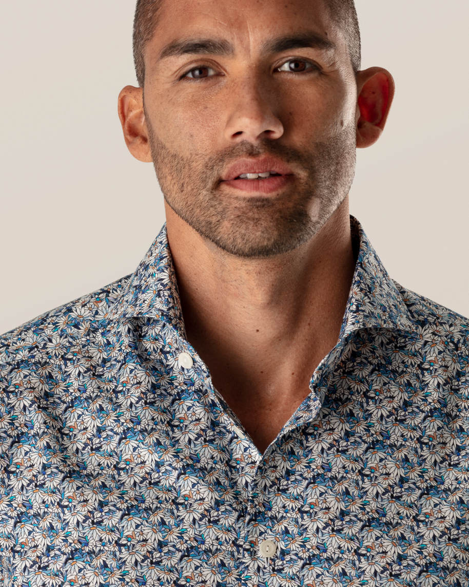 Blue Stained Floral Signature Twill Shirt - image 7
