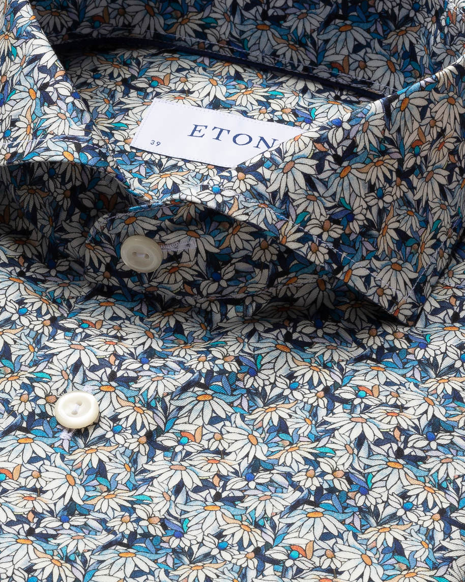 Blue Stained Floral Signature Twill Shirt - image 4