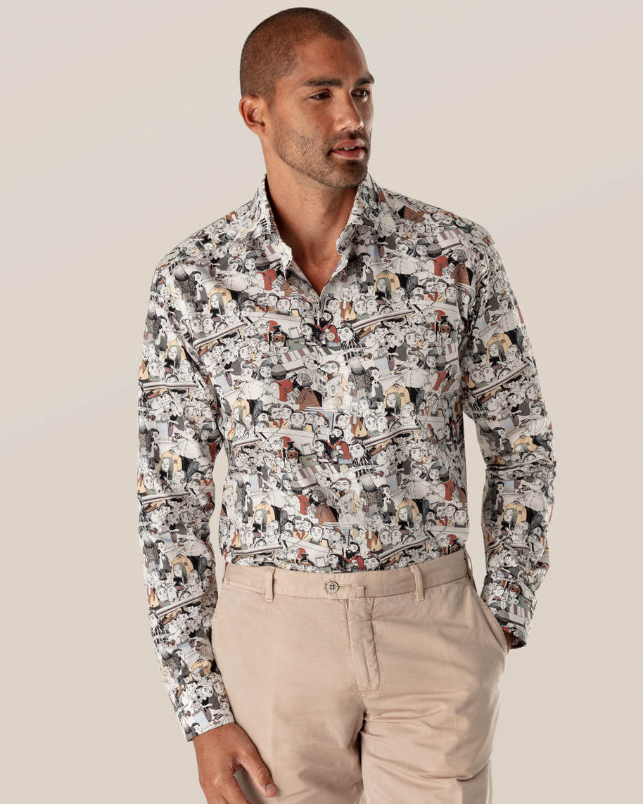 White Signature Twill Shirt – Murano Crowd Print