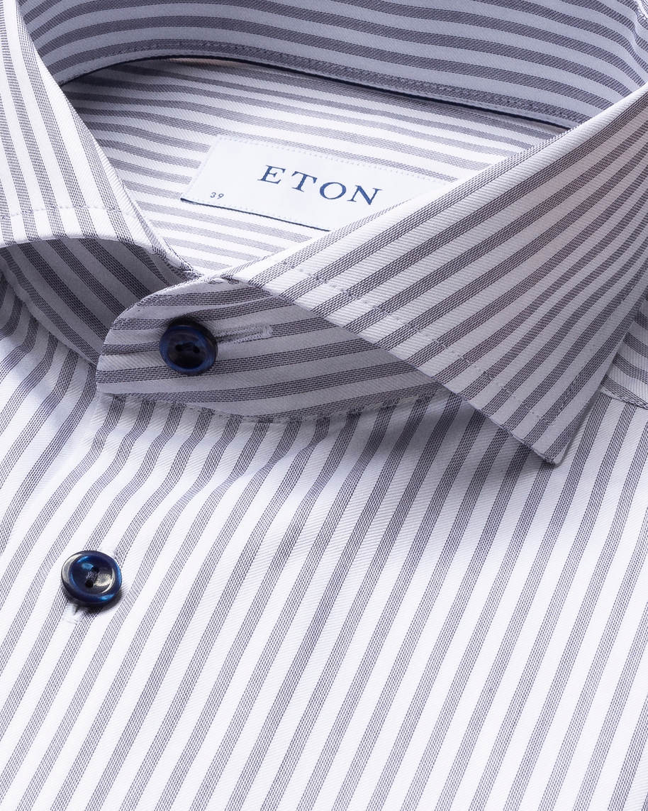 Navy Striped Signature Twill Shirt