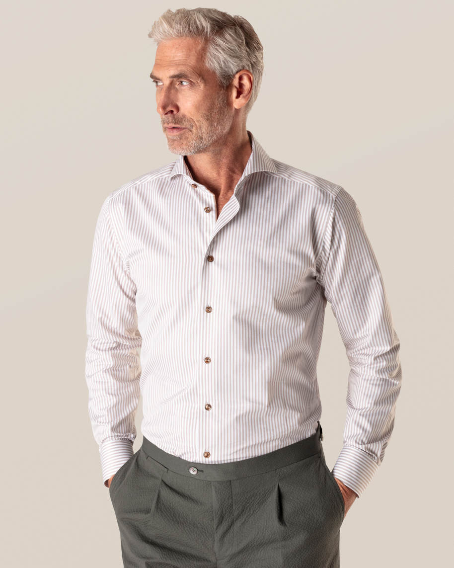 Brown Striped Signature Twill Shirt - image 1