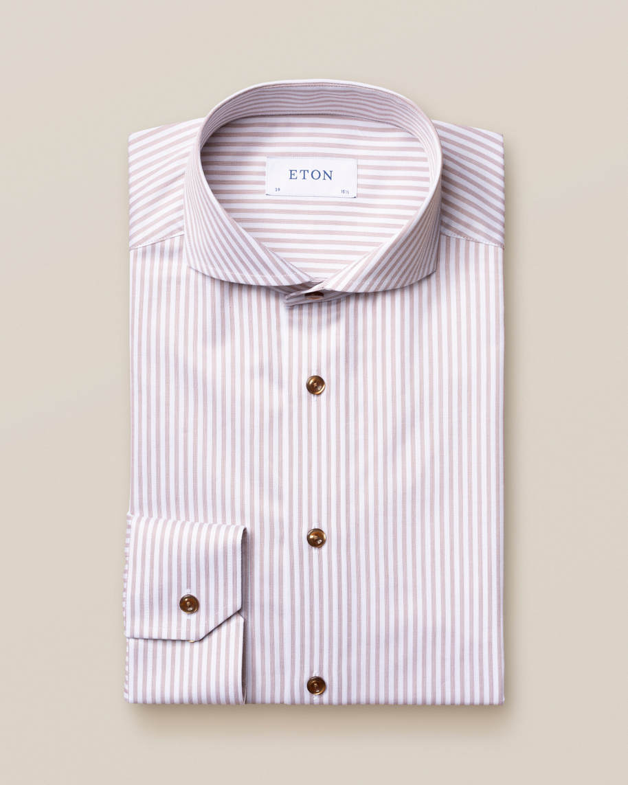 Brown Striped Signature Twill Shirt - image 2