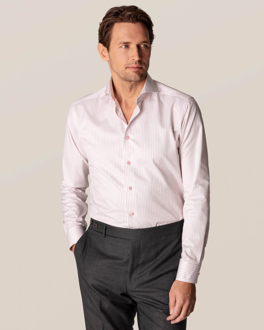 Pink Striped Signature Twill Shirt - image 1
