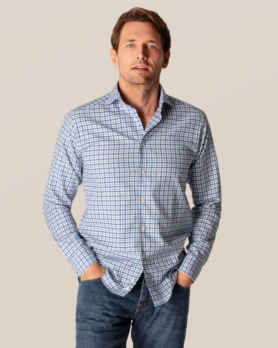 Blue Checks Cotton-silk Shirt