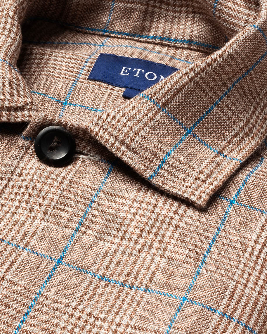 Brown Checked Linen Overshirt
