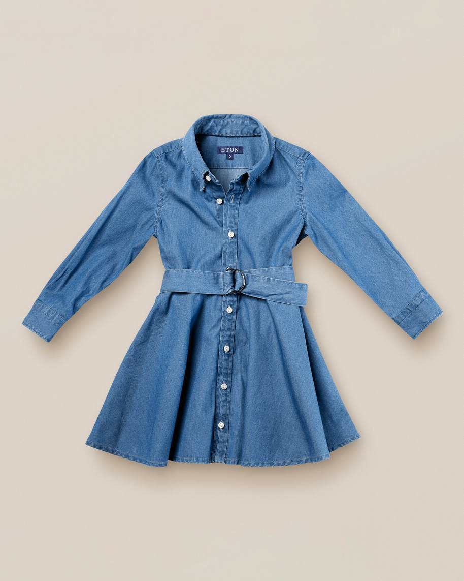 Kids blue denim shirtdress