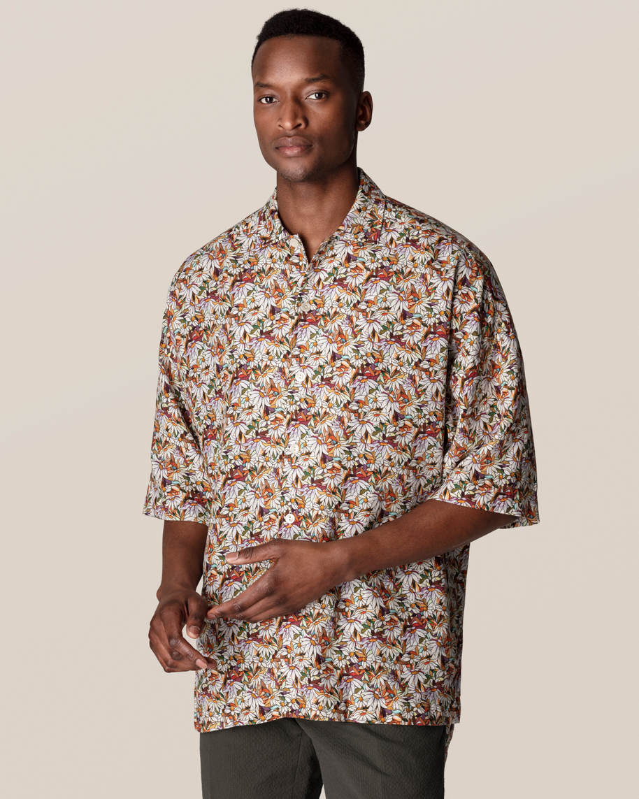 Orange Floral Print Linen Shirt - image 1