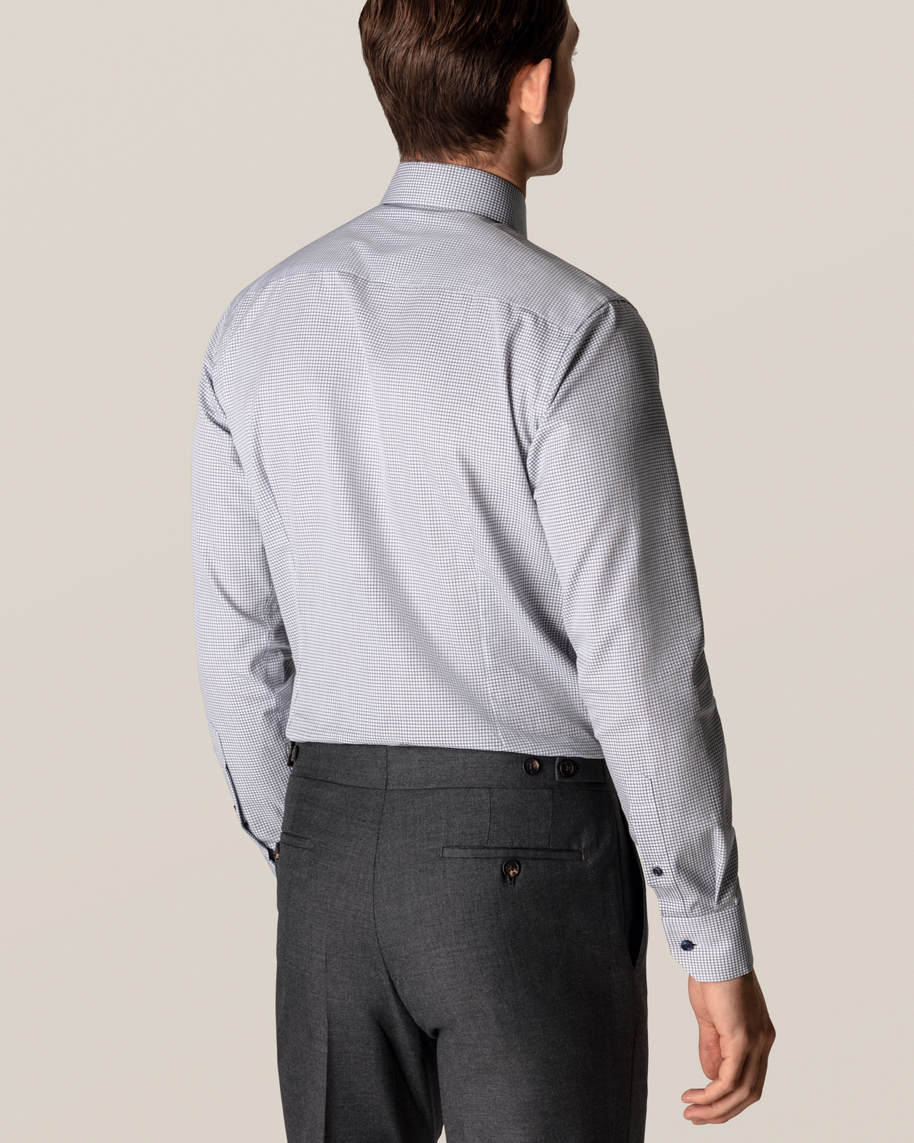 Blue Micro Check Stretch Shirt - image 7