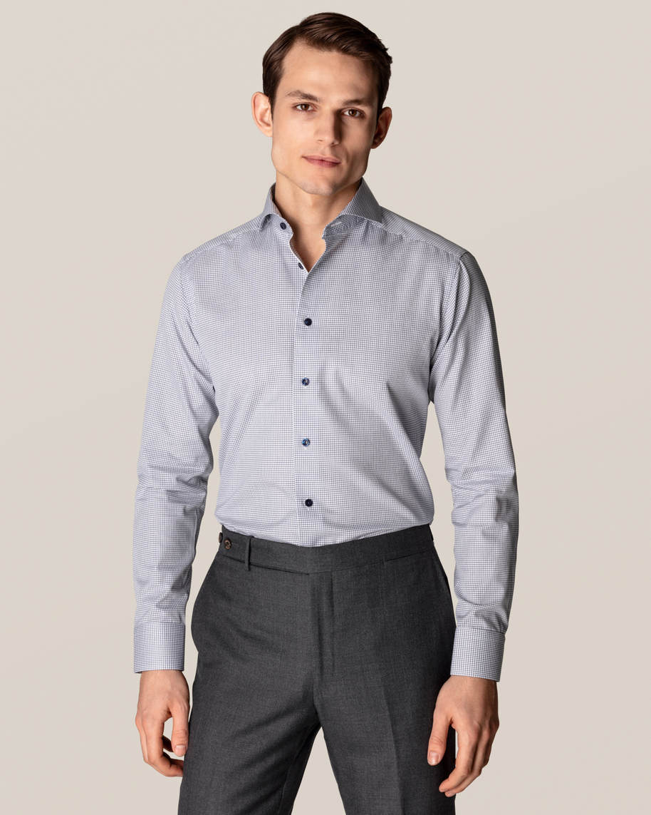 Blue Micro Check Stretch Shirt