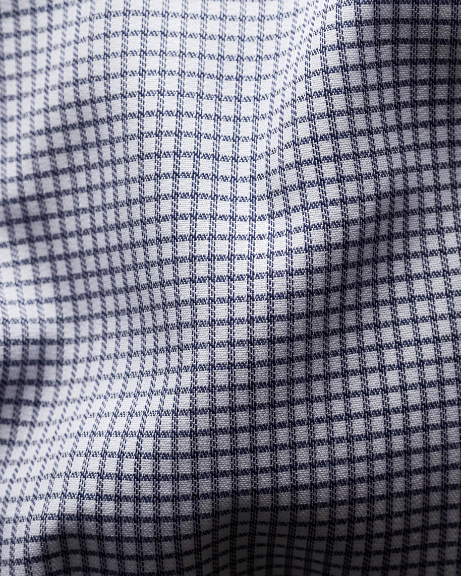 Blue Micro Check Stretch Shirt - image 4