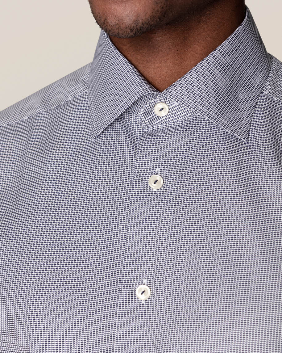 Blue Houndstooth Stretch Shirt - image 7