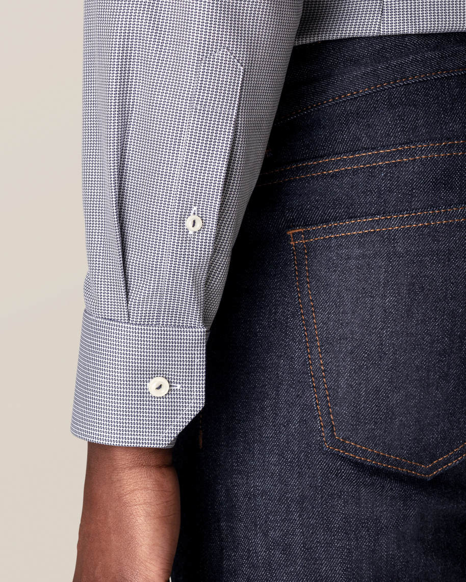 Blue Houndstooth Stretch Shirt - image 8