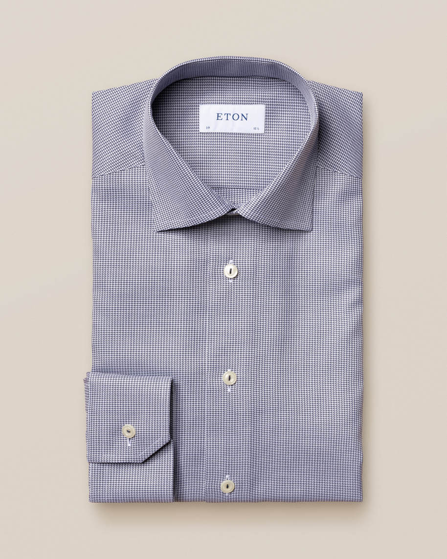 Blue Houndstooth Stretch Shirt - image 2