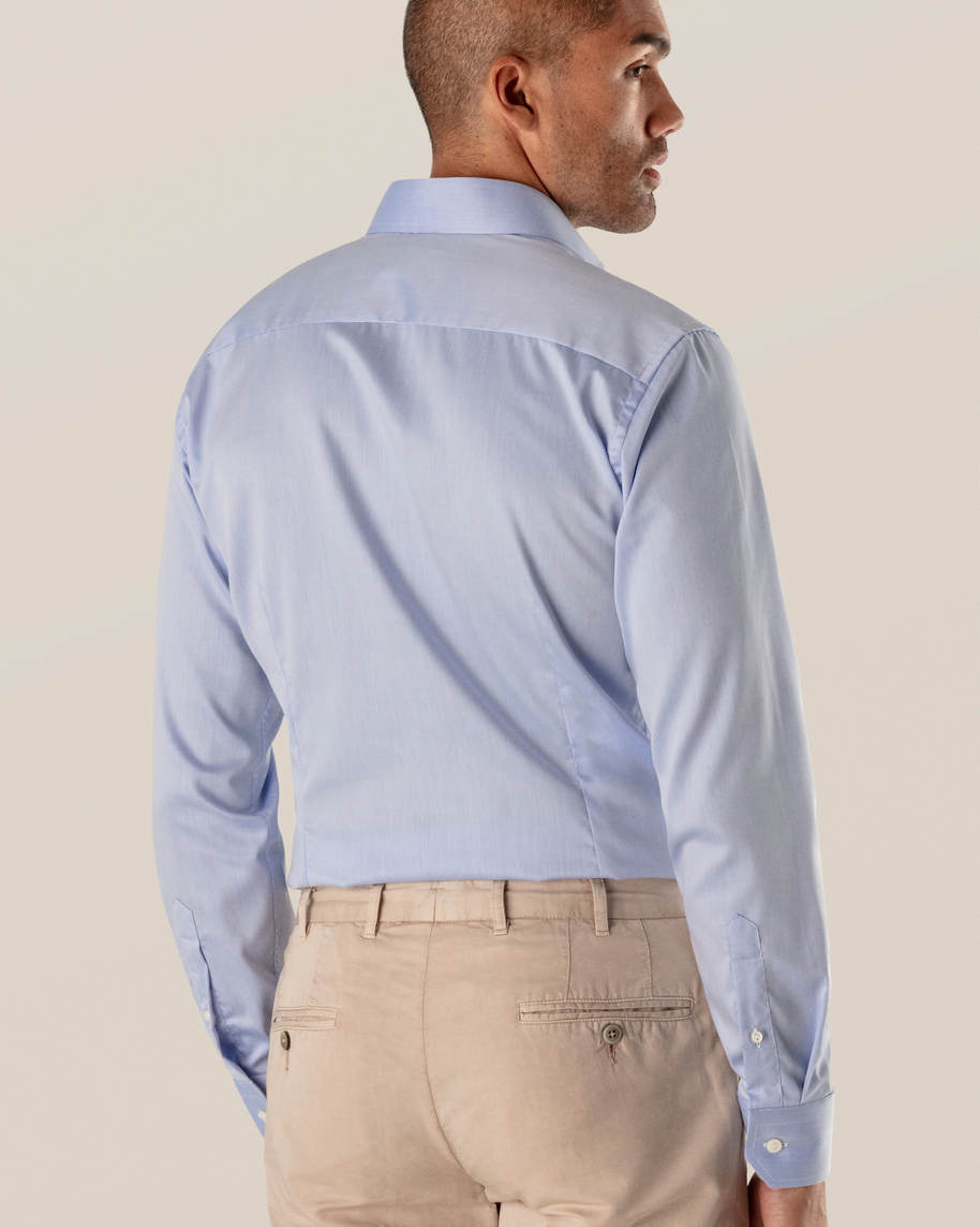 Blue Fine Twill Shirt – Extreme Cut Away - image 5