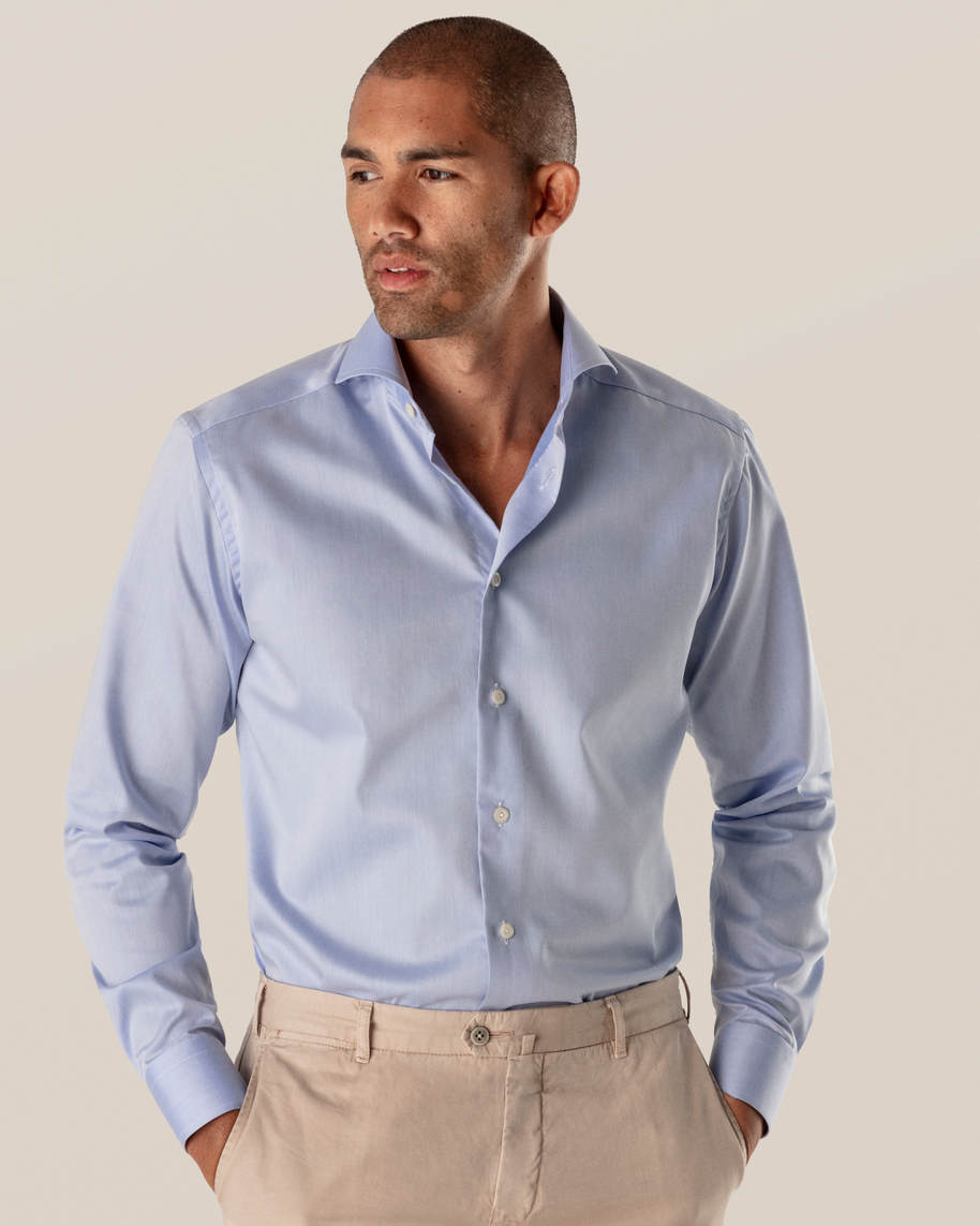 Blue Fine Twill Shirt – Extreme Cut Away - image 1